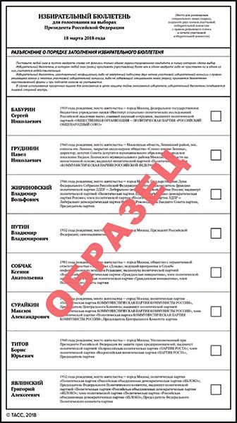 бюллетень избирательный